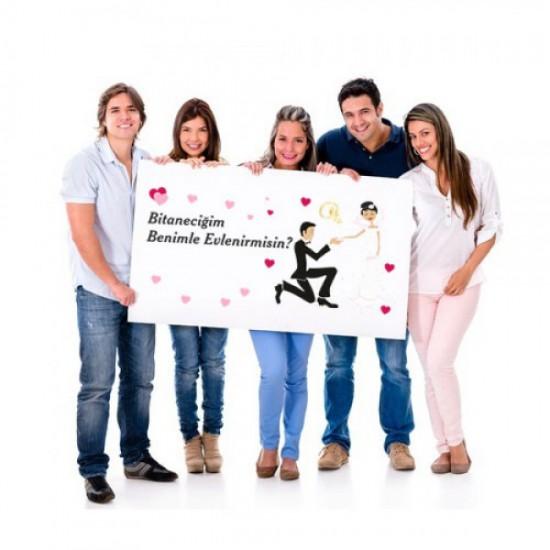 Evlilik Teklifi Afiş Pankartı / 100x100cm, Evlilik Teklifi Afiş Pankartı / 100x100cm fiyatı